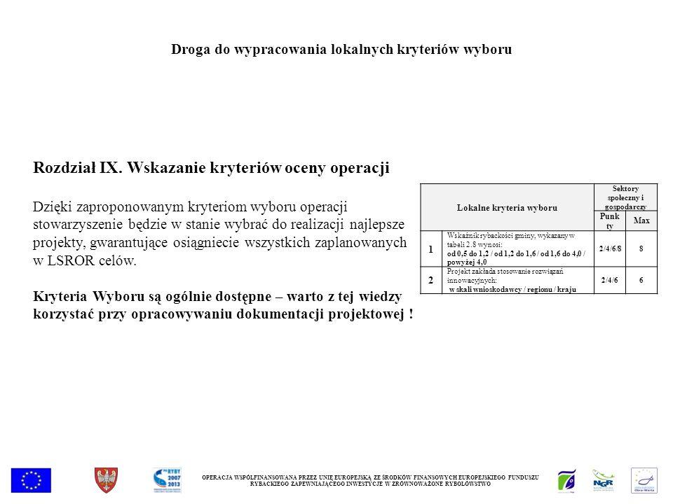 Rozdział IX. Wskazanie kryteriów oceny operacji Dzięki zaproponowanym kryteriom wyboru operacji stowarzyszenie będzie w stanie wybrać do realizacji na