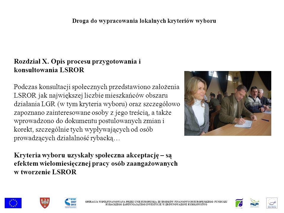 Rozdział X. Opis procesu przygotowania i konsultowania LSROR Podczas konsultacji społecznych przedstawiono założenia LSROR jak największej liczbie mie