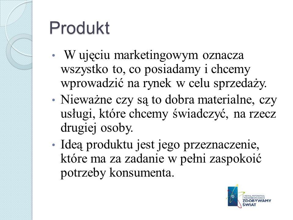 Produkt W ujęciu marketingowym oznacza wszystko to, co posiadamy i chcemy wprowadzić na rynek w celu sprzedaży. Nieważne czy są to dobra materialne, c