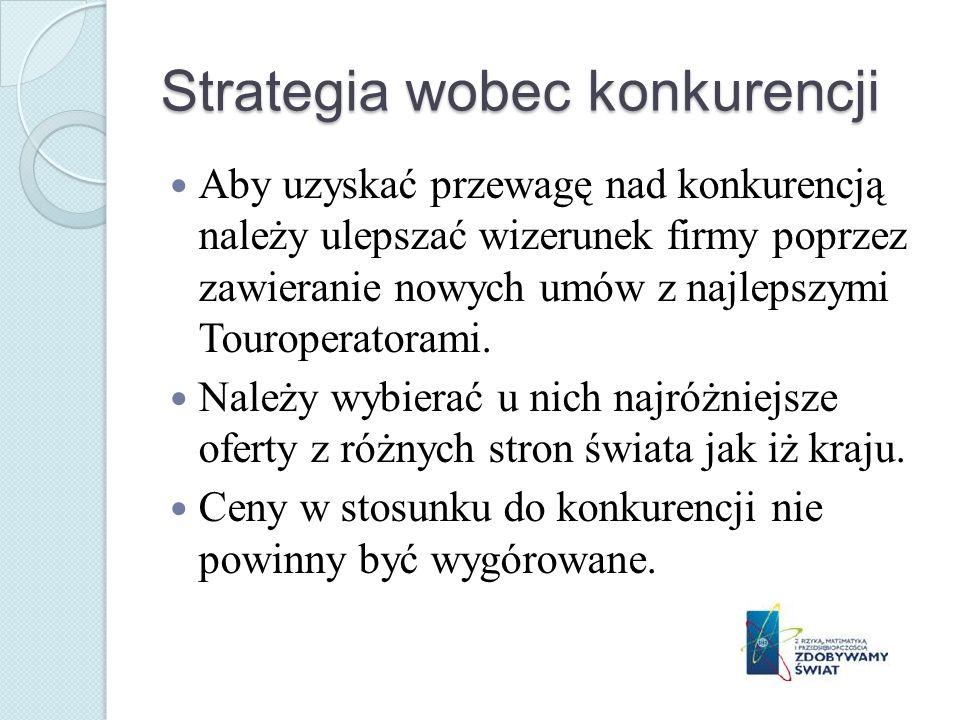 Strategia wobec konkurencji Aby uzyskać przewagę nad konkurencją należy ulepszać wizerunek firmy poprzez zawieranie nowych umów z najlepszymi Touroper