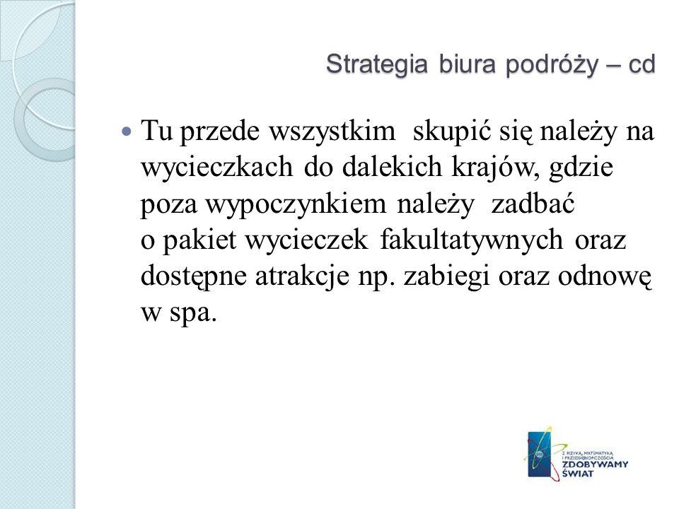 Strategia biura podróży – cd Tu przede wszystkim skupić się należy na wycieczkach do dalekich krajów, gdzie poza wypoczynkiem należy zadbać o pakiet w