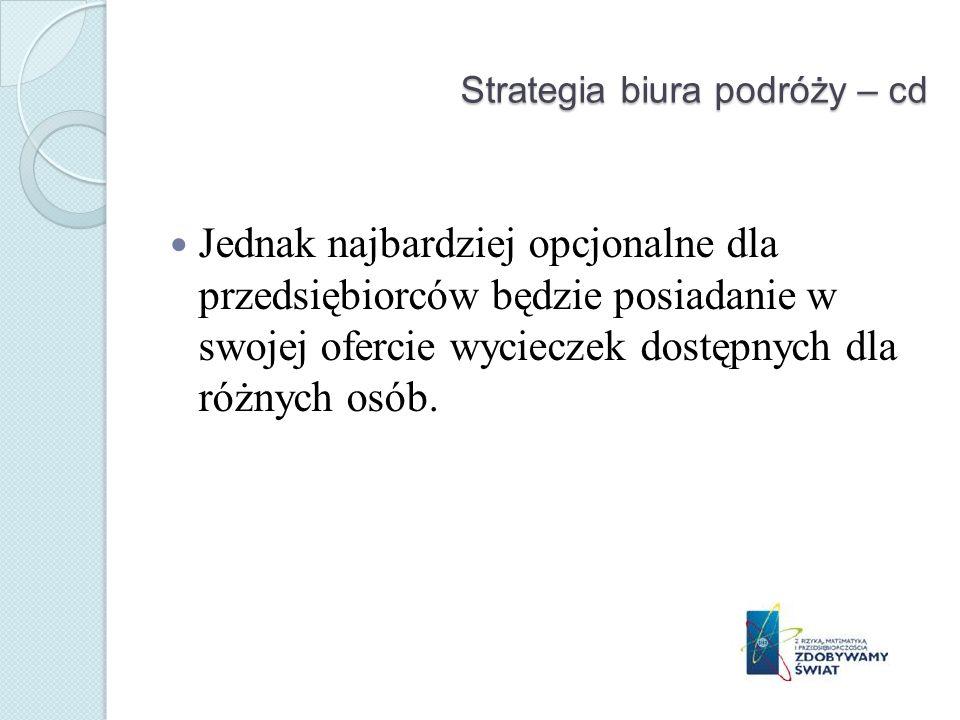 Strategia biura podróży – cd Jednak najbardziej opcjonalne dla przedsiębiorców będzie posiadanie w swojej ofercie wycieczek dostępnych dla różnych osób.