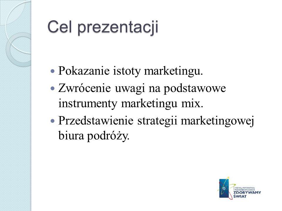 Cel prezentacji Pokazanie istoty marketingu. Zwrócenie uwagi na podstawowe instrumenty marketingu mix. Przedstawienie strategii marketingowej biura po