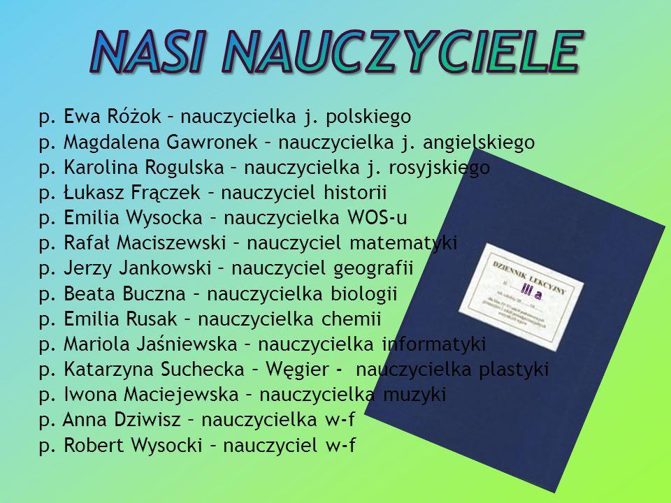 p.Ewa Różok – nauczycielka j. polskiego p. Magdalena Gawronek – nauczycielka j.
