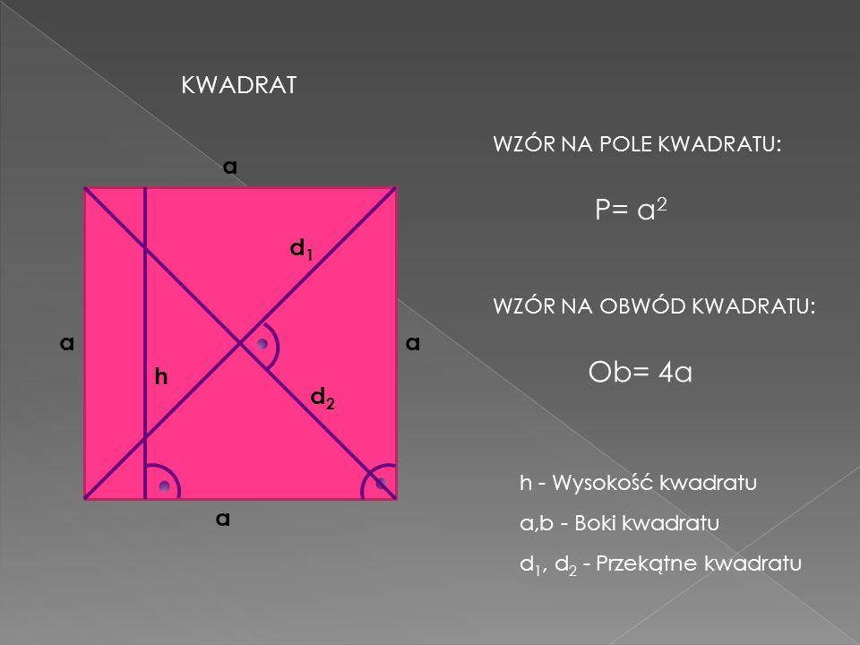 P= a 2 Ob= 4a a aa a h KWADRAT WZÓR NA POLE KWADRATU: WZÓR NA OBWÓD KWADRATU: a,b - Boki kwadratu h - Wysokość kwadratu d1d1 d2d2 d 1, d 2 - Przekątne