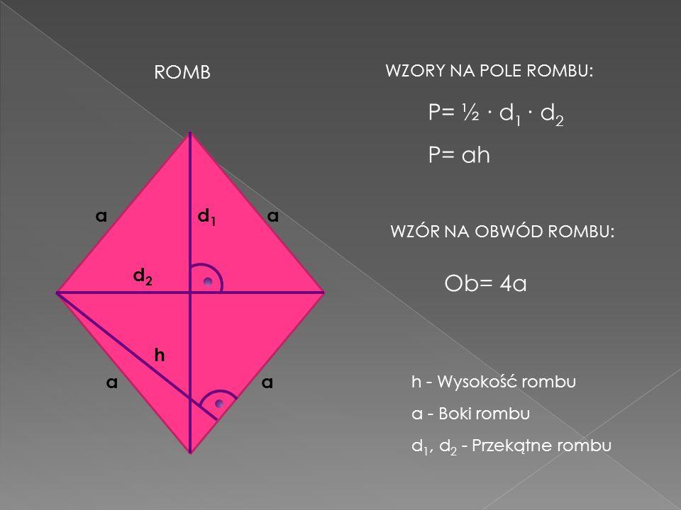 ROMB h aa aa a - Boki rombu h - Wysokość rombu d1d1 d2d2 d 1, d 2 - Przekątne rombu WZORY NA POLE ROMBU: WZÓR NA OBWÓD ROMBU: P= ½ d 1 d 2 P= ah Ob= 4