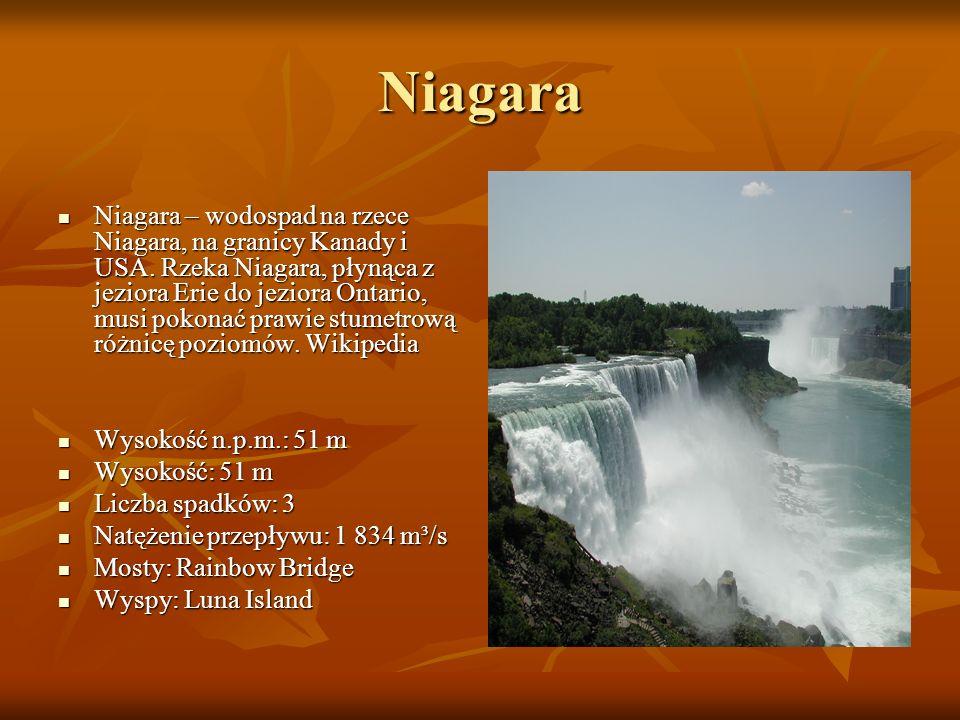 Niagara Niagara – wodospad na rzece Niagara, na granicy Kanady i USA. Rzeka Niagara, płynąca z jeziora Erie do jeziora Ontario, musi pokonać prawie st