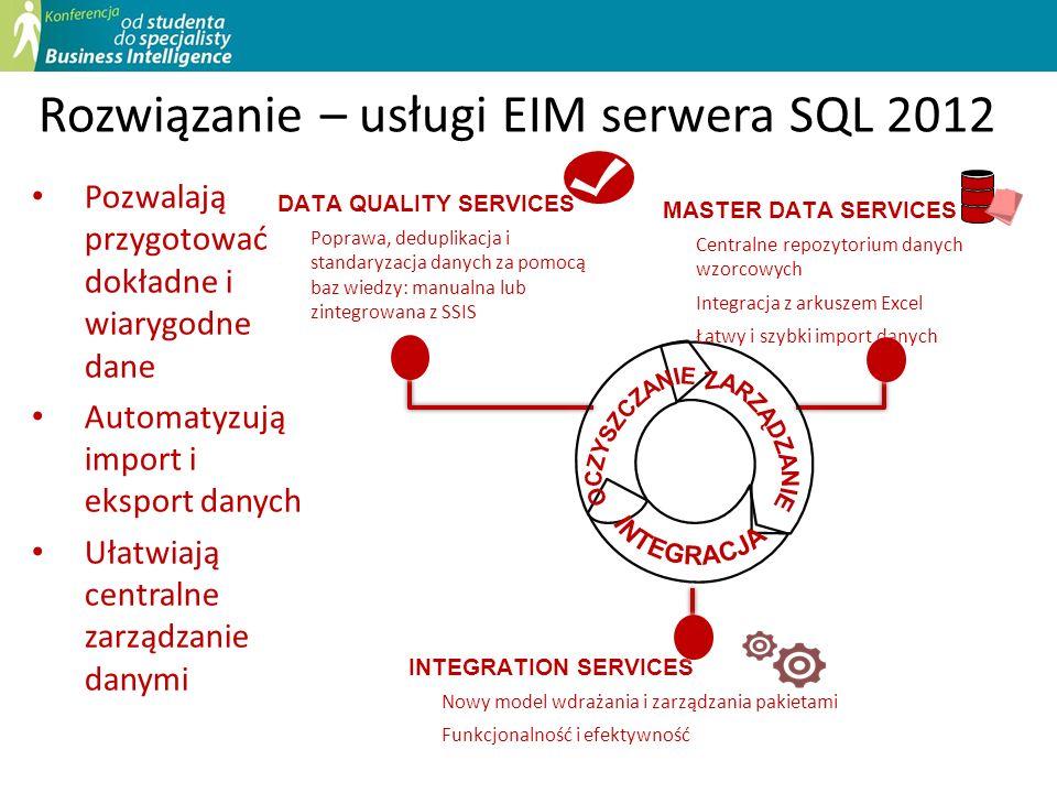 Stworzenie bazy wiedzy (DQKB) Dodatkowe informacje gromadzone są podczas oczyszczania danych Domeny reprezentują znaczenie danych Możemy korzystać z własnych baz wiedzy lub baz firm trzecich Oczyszczenie danych Parowanie (deduplikacja) danych Zarządzanie bazami wiedzy Krok 1.