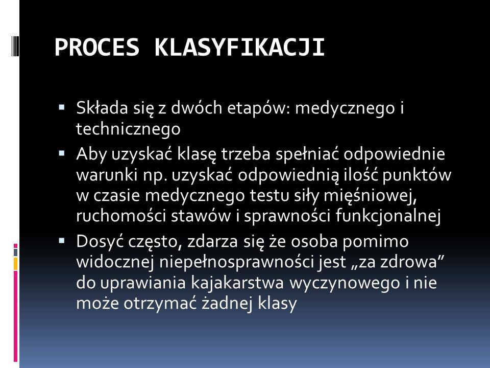 PROCES KLASYFIKACJI Składa się z dwóch etapów: medycznego i technicznego Aby uzyskać klasę trzeba spełniać odpowiednie warunki np. uzyskać odpowiednią