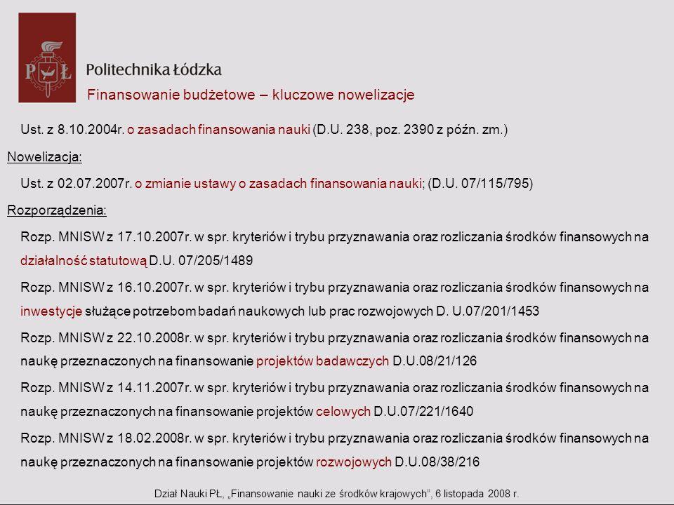 Finansowanie budżetowe – kluczowe nowelizacje Ust. z 8.10.2004r. o zasadach finansowania nauki (D.U. 238, poz. 2390 z późn. zm.) Nowelizacja: Ust. z 0