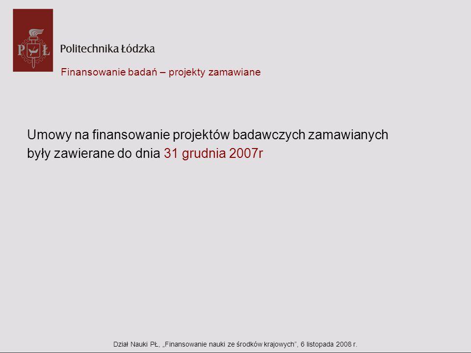 Finansowanie badań – projekty zamawiane Umowy na finansowanie projektów badawczych zamawianych były zawierane do dnia 31 grudnia 2007r Dział Nauki PŁ,