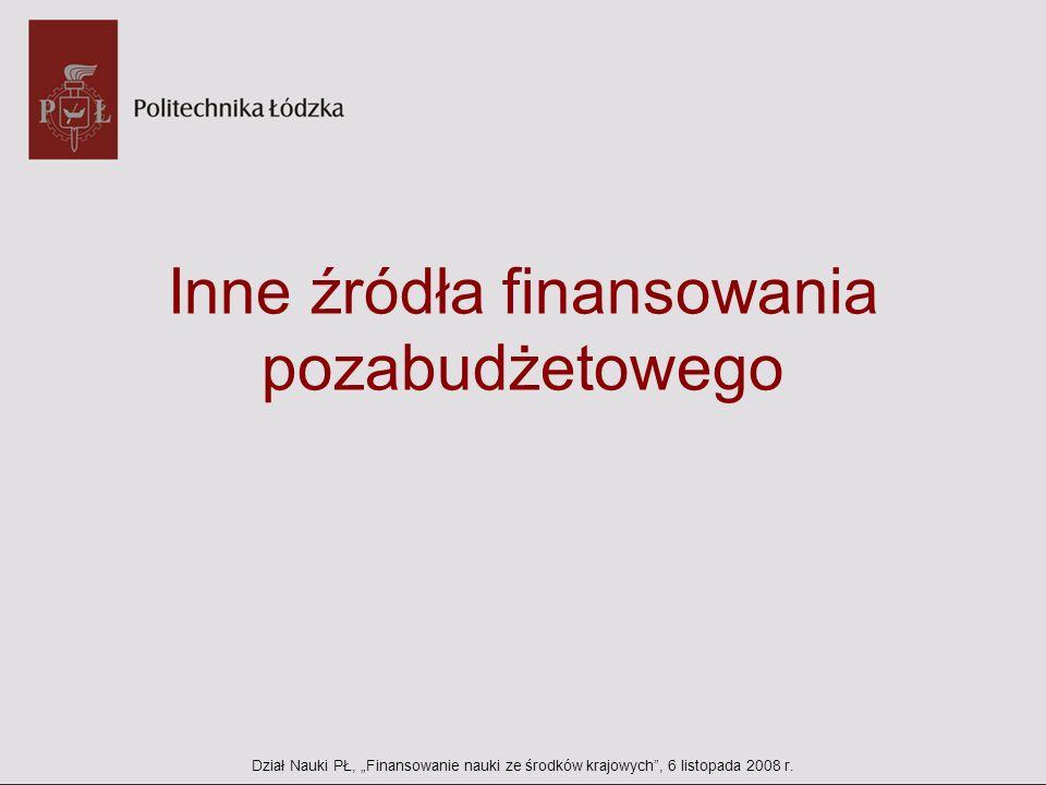 Inne źródła finansowania pozabudżetowego Dział Nauki PŁ, Finansowanie nauki ze środków krajowych, 6 listopada 2008 r.