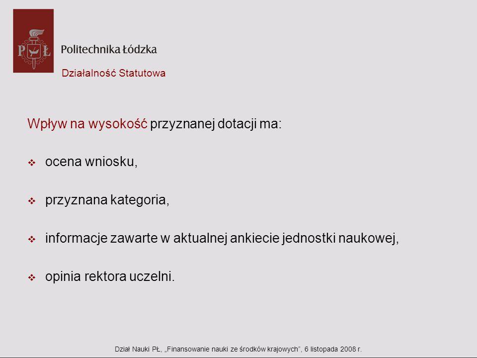 Projekty habilitacyjne JM Rektora PŁ Dział Nauki PŁ, Finansowanie nauki ze środków krajowych, 6 listopada 2008 r.