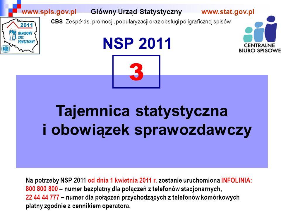 12 Osoby objęte spisem powszechnym – głównym, próbnym i kontrolnym – jak i osoby oraz podmioty objęte badaniem statystycznym w Polsce mają obowiązek udzielenia odpowiedzi: ścisłych, wyczerpujących, zgodnych z prawdą www.spis.gov.plwww.stat.gov.pl Obowiązek udzielania odpowiedzi Obowiązek ten wynika z: Ustawa z dnia 29 czerwca 1995 r.