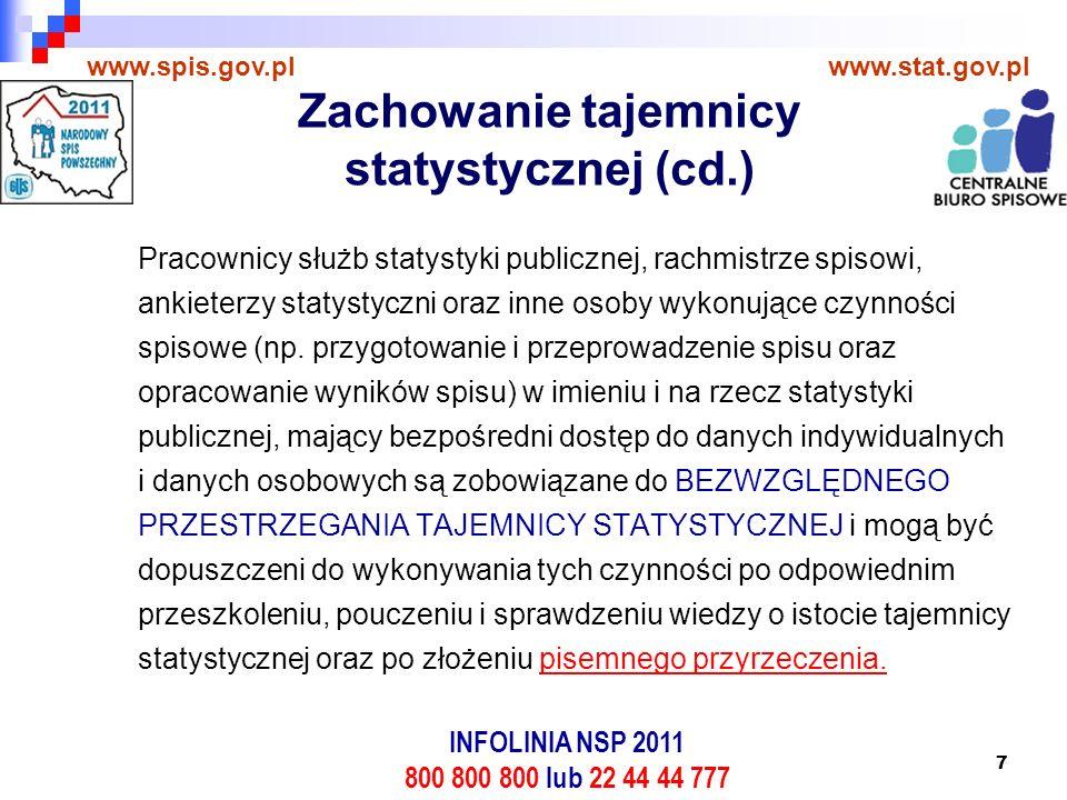 8 www.spis.gov.plwww.stat.gov.pl Przyrzekam, że będę wykonywać swoje prace na rzecz statystyki publicznej z całą rzetelnością, zgodnie z etyką zawodową statystyka, a poznane w czasie ich wykonywania dane jednostkowe zachowam w tajemnicy wobec osób trzecich.