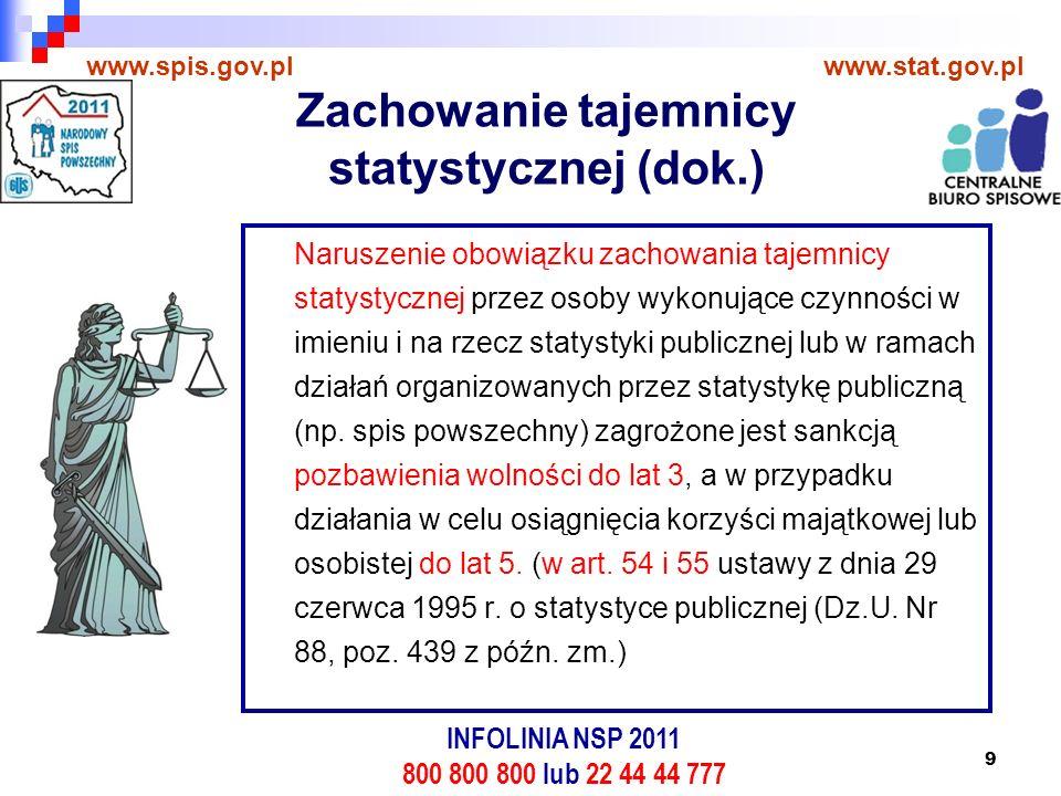 10 www.spis.gov.plwww.stat.gov.pl Gwarancja zachowania tajemnicy statystycznej Gwarancją zachowania tajemnicy statystycznej są zabezpieczenia stosowane przez statystykę publiczną: Stosowanie środków technicznych i organizacyjnych mających na celu zabezpieczenie danych jednostkowych (osobowych i indywidualnych) przed ich udostępnieniem osobom nieupoważnionym, przetwarzaniem z naruszeniem ustawy ze szczególnym uwzględnieniem zmiany tych danych, ich utraty, uszkodzenia lub zniszczenia; Dopuszczanie do pracy z ww.