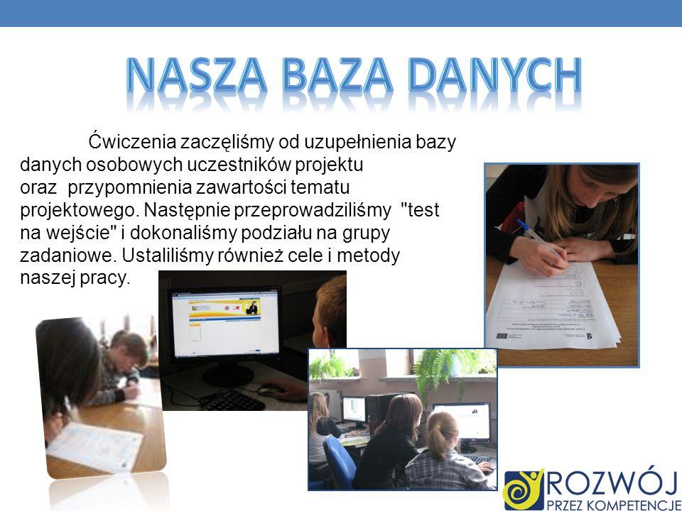 Ćwiczenia zaczęliśmy od uzupełnienia bazy danych osobowych uczestników projektu oraz przypomnienia zawartości tematu projektowego.