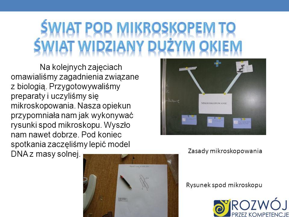 Rysunek spod mikroskopu Zasady mikroskopowania Na kolejnych zajęciach omawialiśmy zagadnienia związane z biologią.