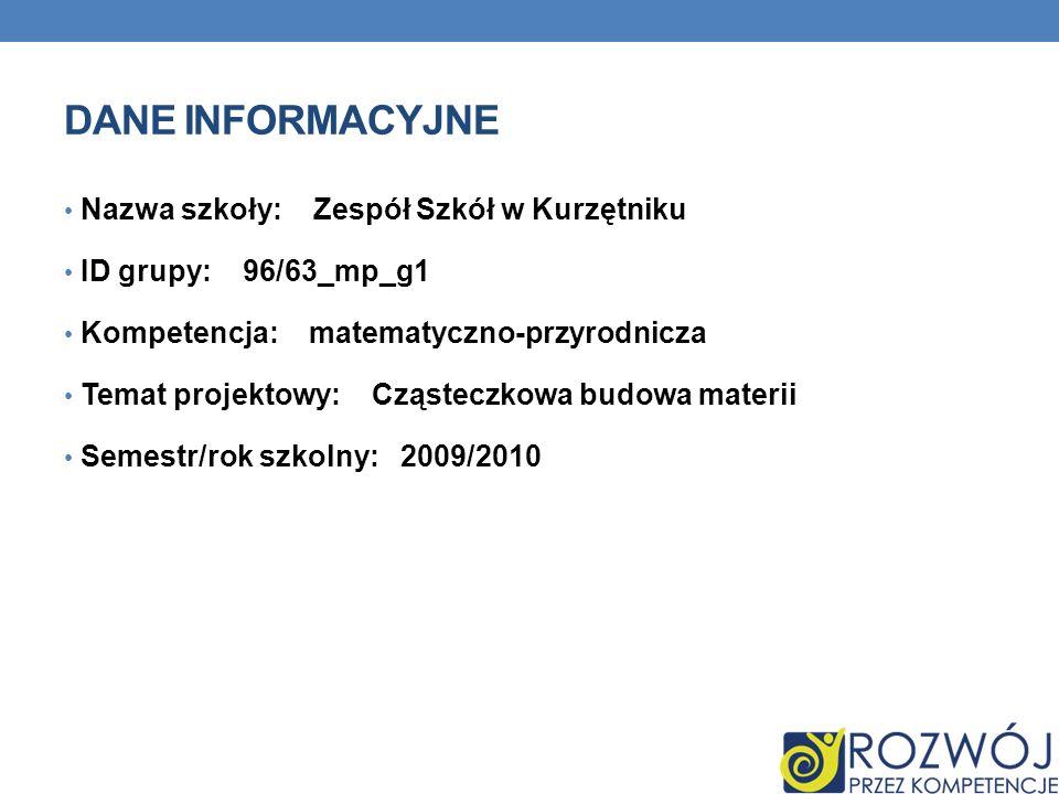 DANE INFORMACYJNE Nazwa szkoły: Zespół Szkół w Kurzętniku ID grupy: 96/63_mp_g1 Kompetencja: matematyczno-przyrodnicza Temat projektowy: Cząsteczkowa budowa materii Semestr/rok szkolny: 2009/2010