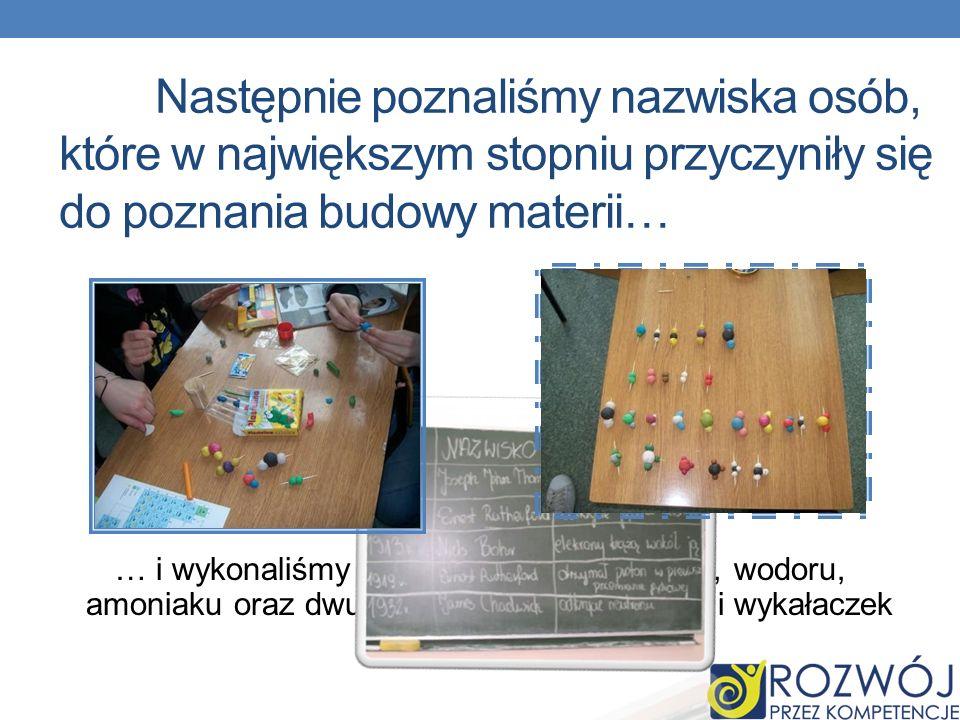 Następnie poznaliśmy nazwiska osób, które w największym stopniu przyczyniły się do poznania budowy materii… … i wykonaliśmy modele cząsteczek wody, wo