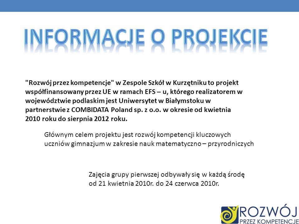 Rozwój przez kompetencje w Zespole Szkół w Kurzętniku to projekt współfinansowany przez UE w ramach EFS – u, którego realizatorem w województwie podlaskim jest Uniwersytet w Białymstoku w partnerstwie z COMBIDATA Poland sp.