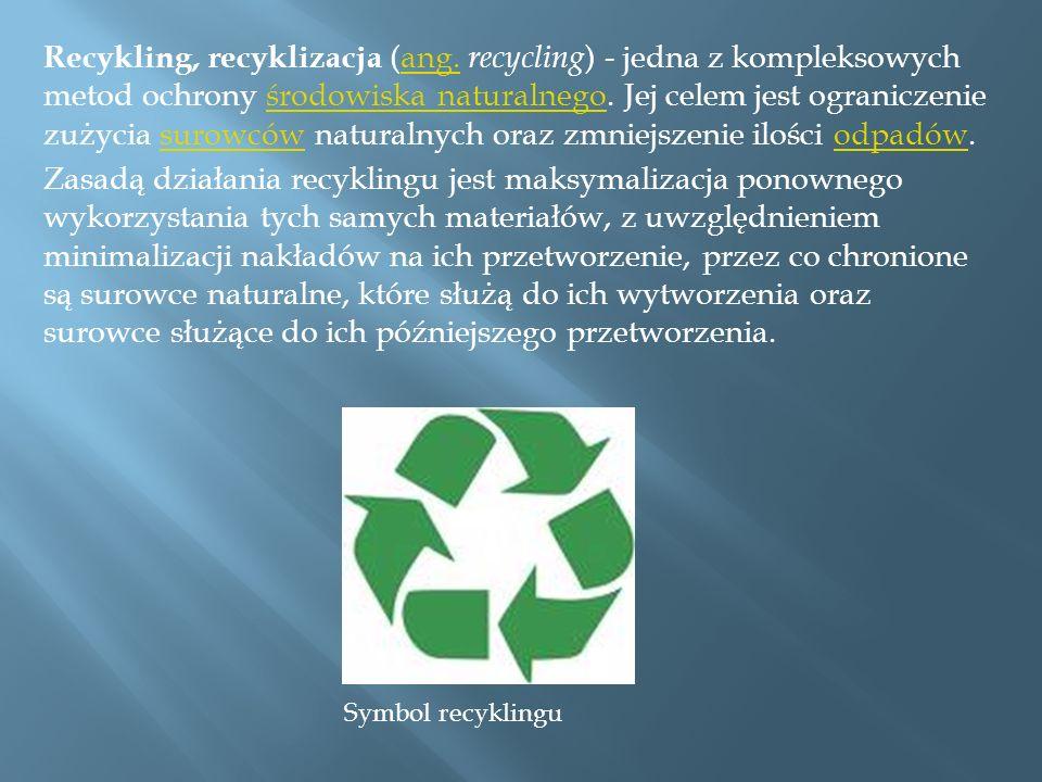 Recykling, recyklizacja (ang. recycling ) - jedna z kompleksowych metod ochrony środowiska naturalnego. Jej celem jest ograniczenie zużycia surowców n