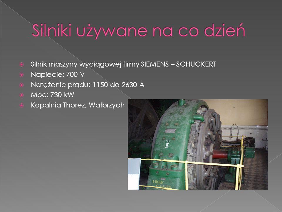 Silnik maszyny wyciągowej firmy SIEMENS – SCHUCKERT Napięcie: 700 V Natężenie prądu: 1150 do 2630 A Moc: 730 kW Kopalnia Thorez, Wałbrzych
