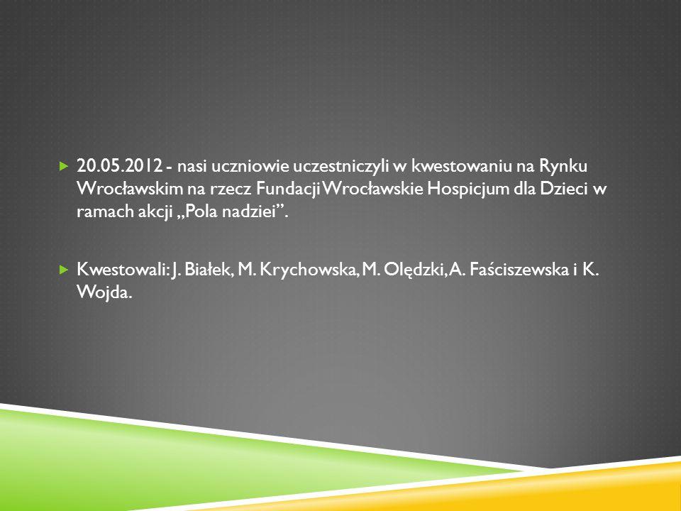 20.05.2012 - nasi uczniowie uczestniczyli w kwestowaniu na Rynku Wrocławskim na rzecz Fundacji Wrocławskie Hospicjum dla Dzieci w ramach akcji Pola na