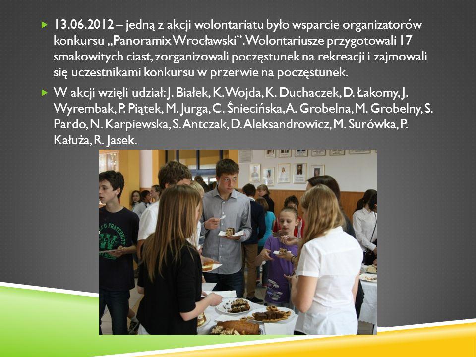 13.06.2012 – jedną z akcji wolontariatu było wsparcie organizatorów konkursu Panoramix Wrocławski. Wolontariusze przygotowali 17 smakowitych ciast, zo