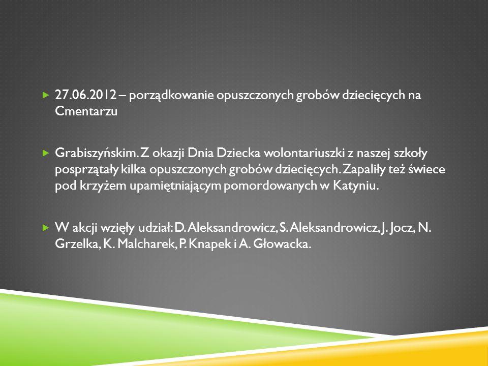 27.06.2012 – porządkowanie opuszczonych grobów dziecięcych na Cmentarzu Grabiszyńskim. Z okazji Dnia Dziecka wolontariuszki z naszej szkoły posprzątał
