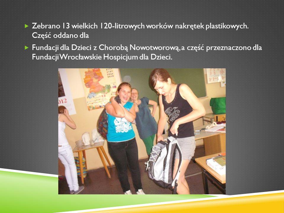 Zebrano 13 wielkich 120-litrowych worków nakrętek plastikowych. Część oddano dla Fundacji dla Dzieci z Chorobą Nowotworową, a część przeznaczono dla F