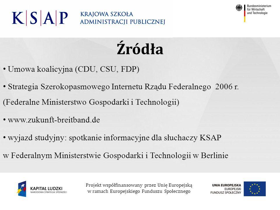 Projekt współfinansowany przez Unię Europejską w ramach Europejskiego Funduszu Społecznego Umowa koalicyjna (CDU, CSU, FDP) Strategia Szerokopasmowego Internetu Rządu Federalnego 2006 r.