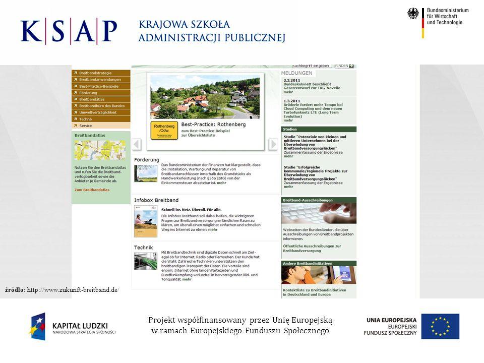 Projekt współfinansowany przez Unię Europejską w ramach Europejskiego Funduszu Społecznego źródło: http://www.zukunft-breitband.de/