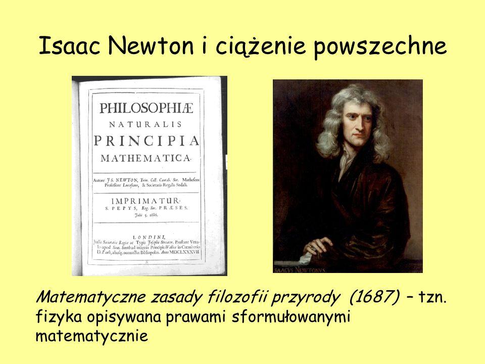 Isaac Newton i ciążenie powszechne Matematyczne zasady filozofii przyrody (1687) – tzn. fizyka opisywana prawami sformułowanymi matematycznie