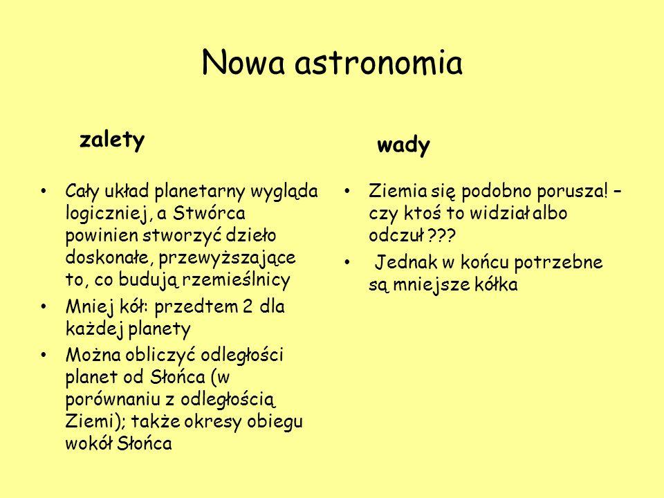 Nowa astronomia zalety Cały układ planetarny wygląda logiczniej, a Stwórca powinien stworzyć dzieło doskonałe, przewyższające to, co budują rzemieślni