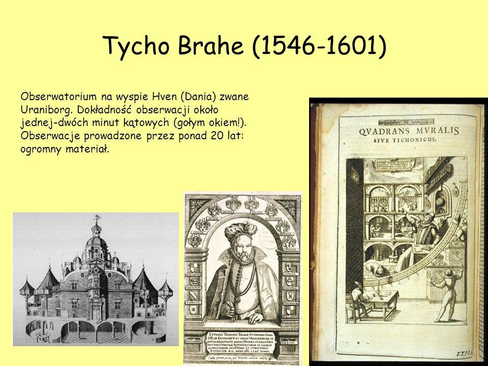 Tycho Brahe (1546-1601) Obserwatorium na wyspie Hven (Dania) zwane Uraniborg. Dokładność obserwacji około jednej-dwóch minut kątowych (gołym okiem!).