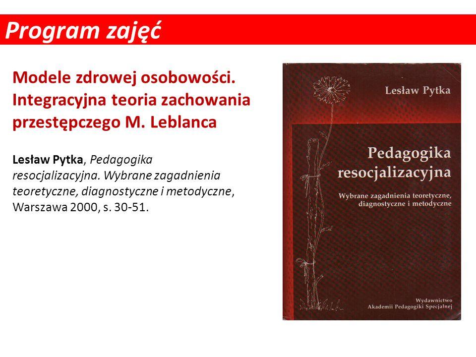 Program zajęć Lesław Pytka, Pedagogika resocjalizacyjna. Wybrane zagadnienia teoretyczne, diagnostyczne i metodyczne, Warszawa 2000, s. 30-51. Modele