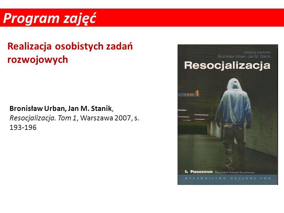 Program zajęć Realizacja osobistych zadań rozwojowych Bronisław Urban, Jan M. Stanik, Resocjalizacja. Tom 1, Warszawa 2007, s. 193-196