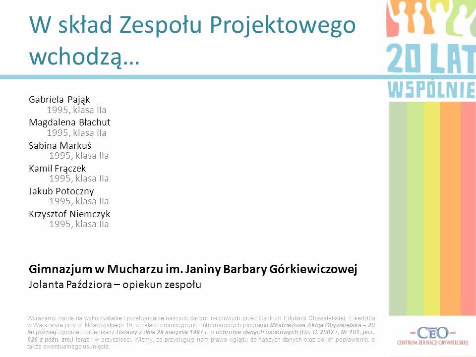 Gabriela Pająk 1995, klasa IIa Magdalena Błachut 1995, klasa IIa Sabina Markuś 1995, klasa IIa Kamil Frączek 1995, klasa IIa Jakub Potoczny 1995, klas