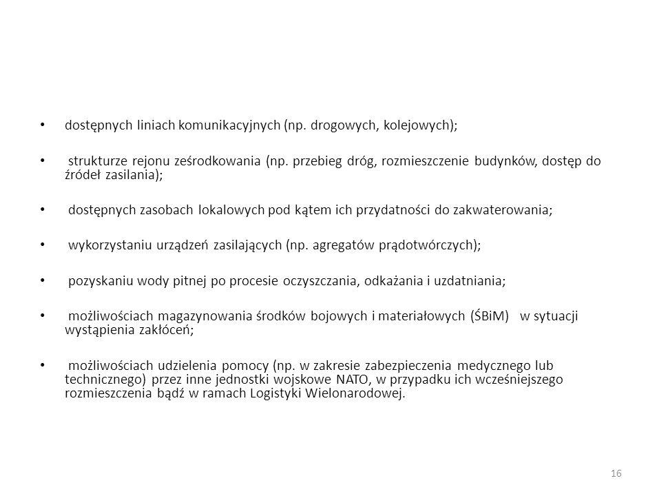 dostępnych liniach komunikacyjnych (np.