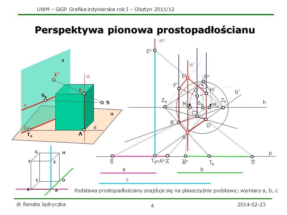 UWM – GiGP Grafika inżynierska rok I – Olsztyn 2011/12 2014-02-23 dr Renata Jędryczka 5 Perspektywa pionowa