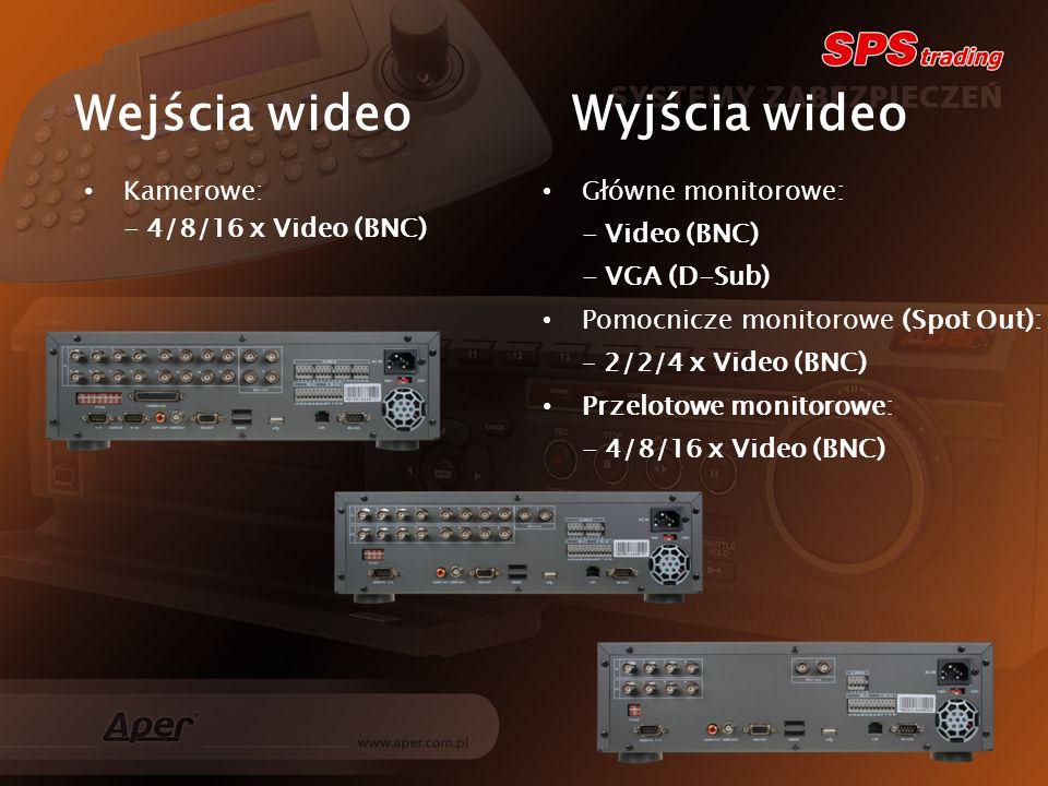 Wejścia wideo Wyjścia wideo Kamerowe: - 4/8/16 x Video (BNC) Główne monitorowe: - Video (BNC) - VGA (D-Sub) Pomocnicze monitorowe (Spot Out): – 2/2/4 x Video (BNC) Przelotowe monitorowe: - 4/8/16 x Video (BNC)