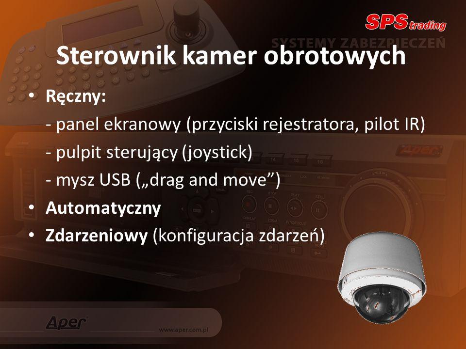 Sterownik kamer obrotowych Ręczny: - panel ekranowy (przyciski rejestratora, pilot IR) - pulpit sterujący (joystick) - mysz USB (drag and move) Automatyczny Zdarzeniowy (konfiguracja zdarzeń)
