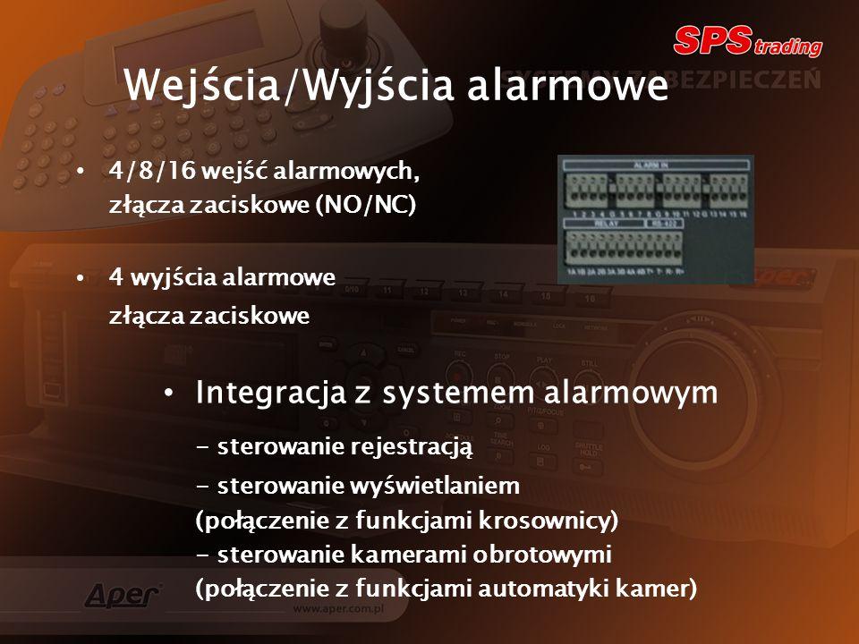 Integracja z systemem alarmowym - sterowanie rejestracją - sterowanie wyświetlaniem (połączenie z funkcjami krosownicy) - sterowanie kamerami obrotowymi (połączenie z funkcjami automatyki kamer) Wejścia/Wyjścia alarmowe 4/8/16 wejść alarmowych, złącza zaciskowe (NO/NC) 4 wyjścia alarmowe złącza zaciskowe