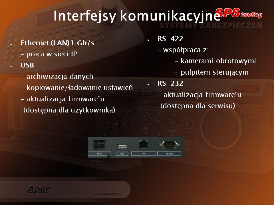 Interfejsy komunikacyjne Ethernet (LAN) 1 Gb/s – praca w sieci IP USB - archiwizacja danych - kopiowanie/ładowanie ustawień - aktualizacja firmwareu (dostępna dla użytkownika) RS-422 – współpraca z: - kamerami obrotowymi - pulpitem sterującym RS-232 - aktualizacja firmwareu (dostępna dla serwisu)