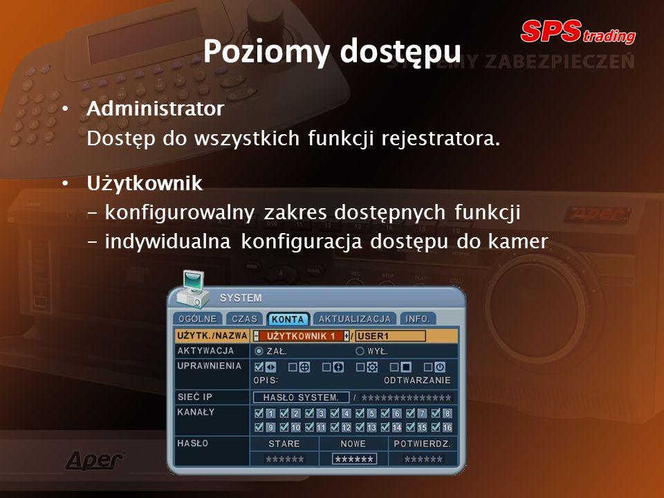 Poziomy dostępu Administrator Dostęp do wszystkich funkcji rejestratora.