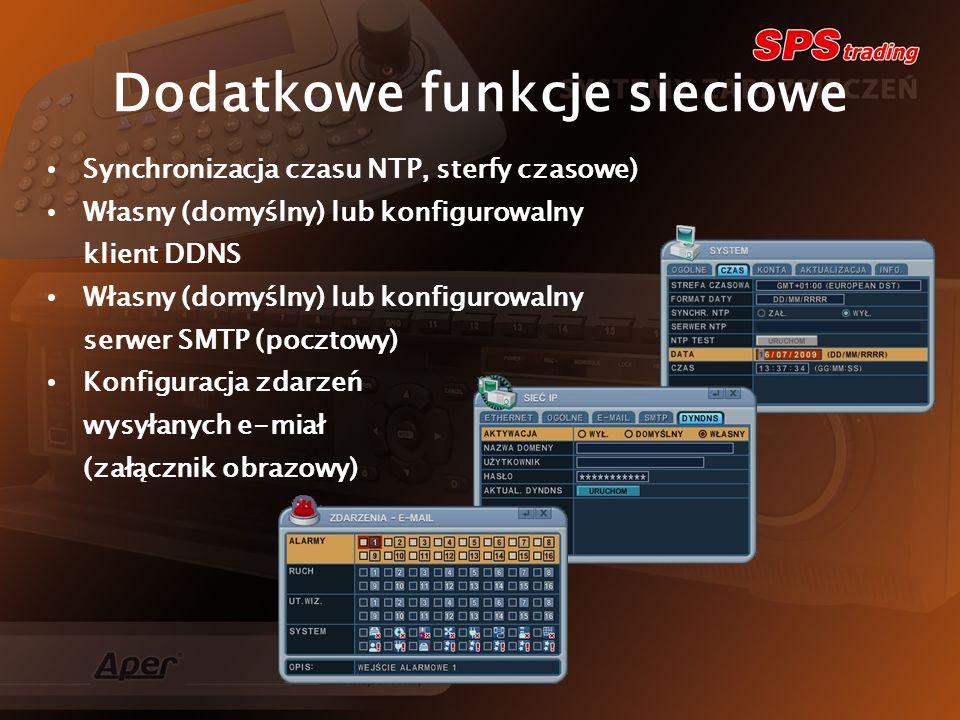 Dodatkowe funkcje sieciowe Synchronizacja czasu NTP, sterfy czasowe) Własny (domyślny) lub konfigurowalny klient DDNS Własny (domyślny) lub konfigurowalny serwer SMTP (pocztowy) Konfiguracja zdarzeń wysyłanych e-miał (załącznik obrazowy)