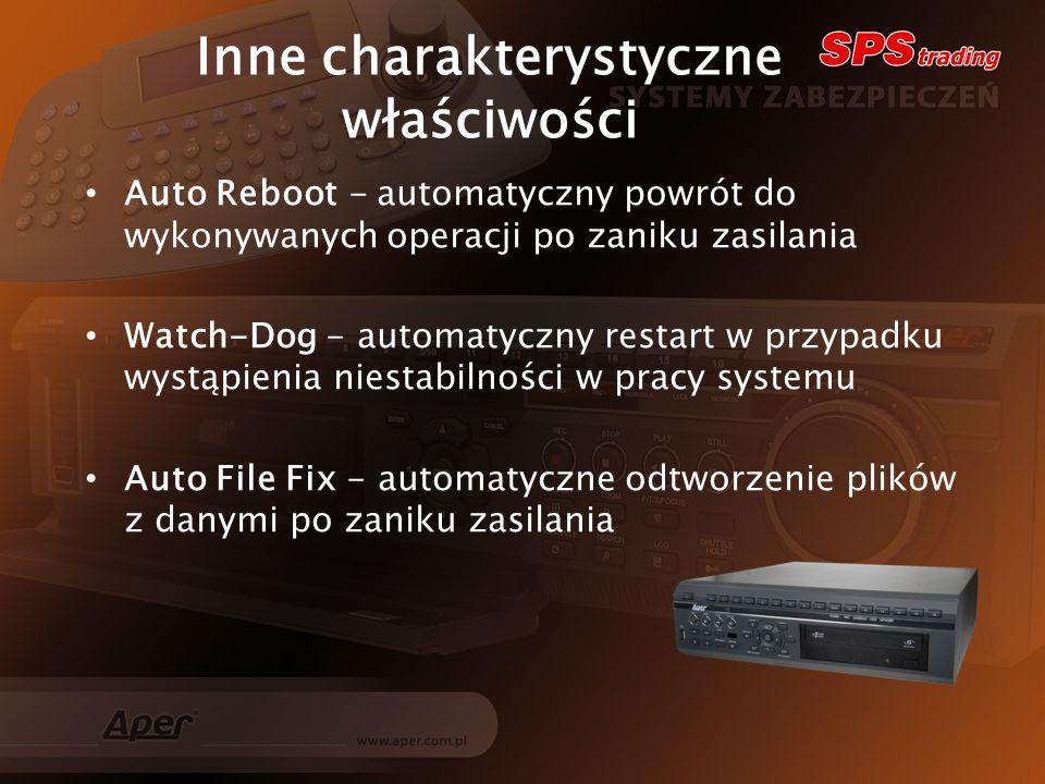 Inne charakterystyczne właściwości Auto Reboot - automatyczny powrót do wykonywanych operacji po zaniku zasilania Watch-Dog - automatyczny restart w przypadku wystąpienia niestabilności w pracy systemu Auto File Fix - automatyczne odtworzenie plików z danymi po zaniku zasilania