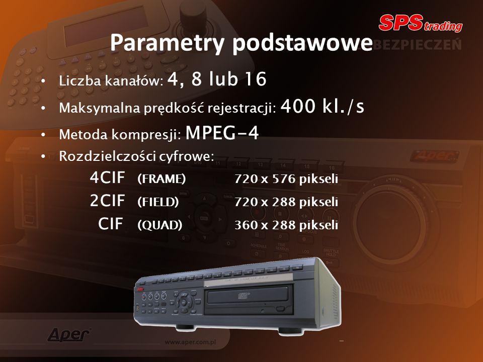Parametry podstawowe Liczba kanałów: 4, 8 lub 16 Maksymalna prędkość rejestracji: 400 kl./s Metoda kompresji: MPEG-4 Rozdzielczości cyfrowe: 4CIF (FRAME)720 x 576 pikseli 2CIF (FIELD)720 x 288 pikseli CIF (QUAD)360 x 288 pikseli