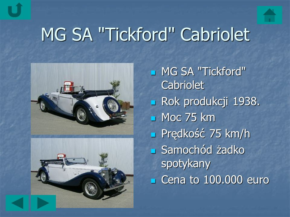MG SA Tickford Cabriolet MG SA Tickford Cabriolet MG SA Tickford Cabriolet Rok produkcji 1938.
